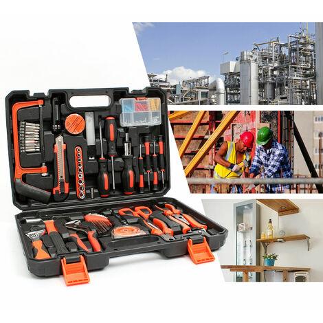 Valise de Bricolage, Malette à Outils, Avec une mallette noire, 114 outils, Matériau: Acier, Plastique