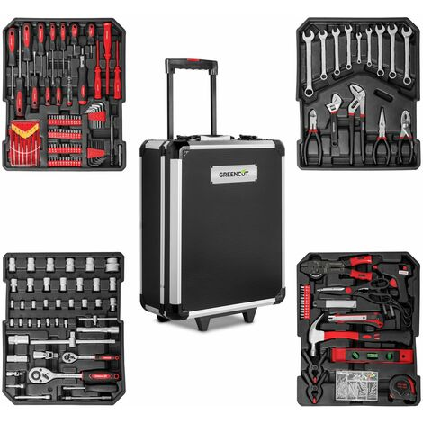 Valise outils 819 pièces chariot acier aluminium avec roulettes -GREENCUT
