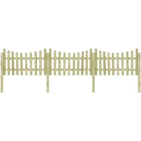 Valla de jardín 4 postes madera pino impregnada 510x100 cm