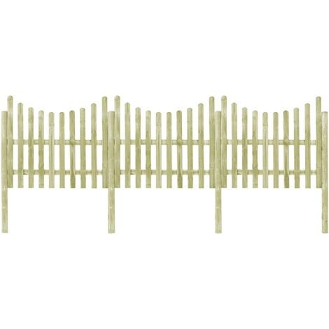 Valla de jardín 4 postes madera pino impregnada 510x150 cm
