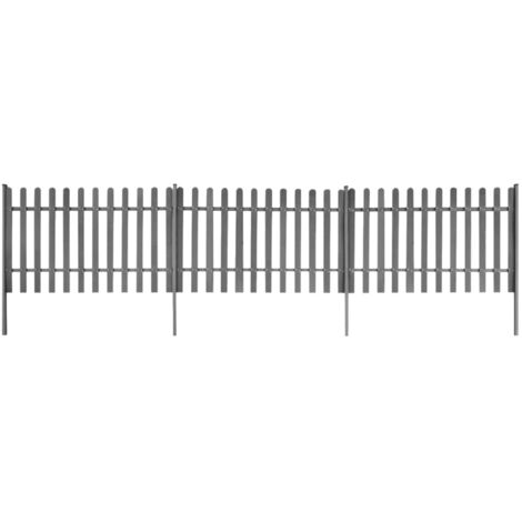 Valla de jardin con postes 3 piezas WPC 600x120 cm