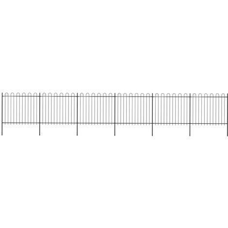 Valla de jardin con puntas de aro acero negro 10,2x1,5 m