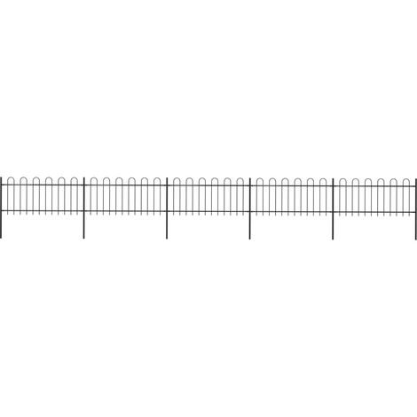 Valla de jardín con puntas de aro acero negro 8,5x0,8 m