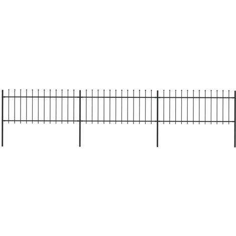 Valla de jardin con puntas de lanza acero negro 5,1x0,8 m