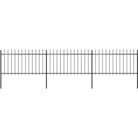 Valla de jardin con puntas de lanza acero negro 5,1x1 m