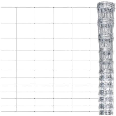 Valla de jardín de acero galvanizado 50 m 150 cm - Plateado