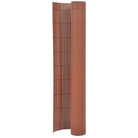 Valla de jardín de doble cara marrón 170x500 cm