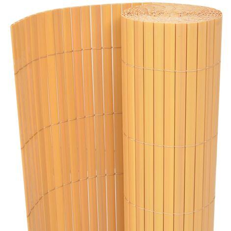 Valla de jardín de doble cara PVC amarilla 90x500 cm