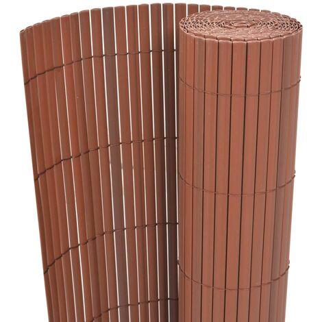 Valla de jardín de doble cara PVC marrón 150x300 cm