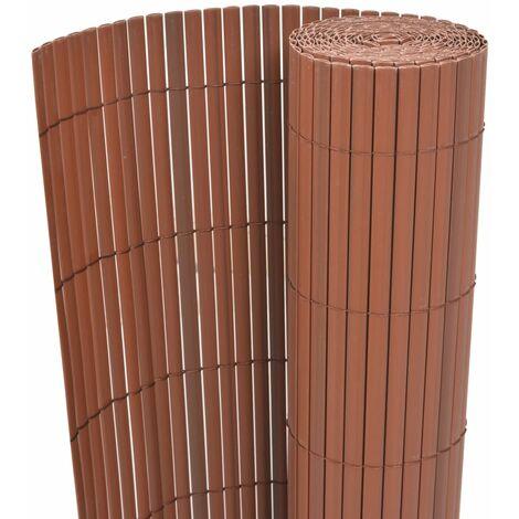 Valla de jardín de doble cara PVC marrón 150x500 cm