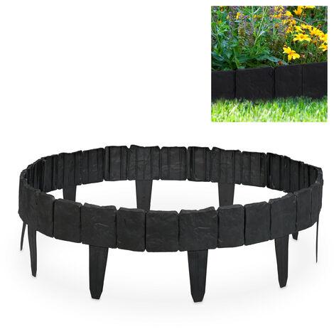 Valla de jardín decorativa, Set de 10 bordillos para césped, Estrecho, 10 cm, Gris oscuro