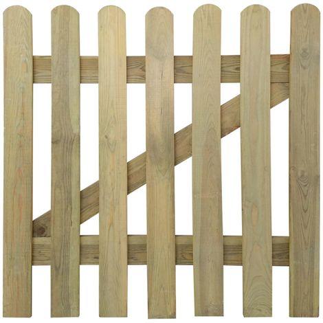 Valla de madera con estacas, 100 x 100 cm