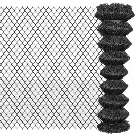 Valla de tela metalica 25x1,5 m gris acero gris