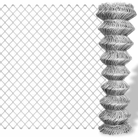 Valla de tela metálica acero galvanizado plateado 15x1 m