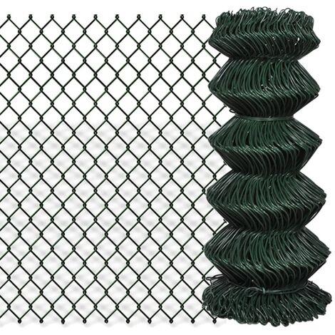 Valla de tela metálica acero galvanizado verde 0,8x15 m