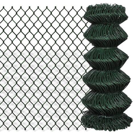 Valla de tela metálica acero galvanizado verde 0,8x25 m