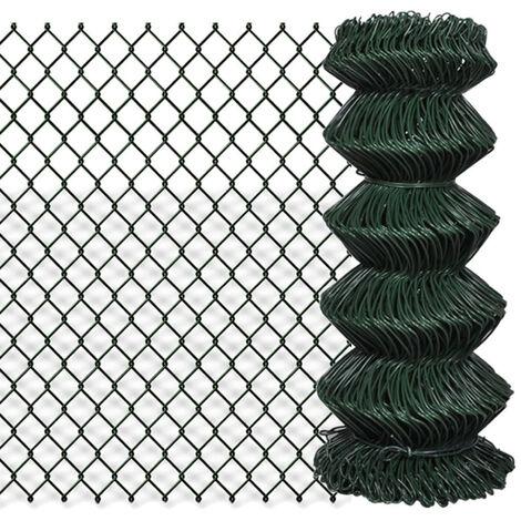 Valla de tela metalica acero galvanizado verde 0,8x25 m