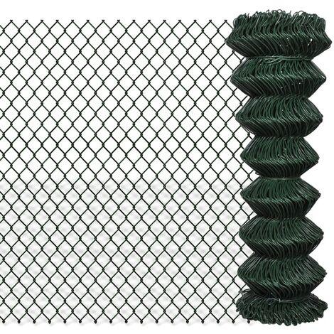 Valla de tela metálica acero galvanizado verde 1,25x25 m