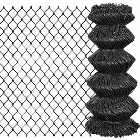 Valla de tela metálica acero gris 15x0,8 m