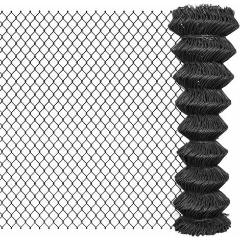 Valla de tela metálica acero gris 15x1,5 m - Gris
