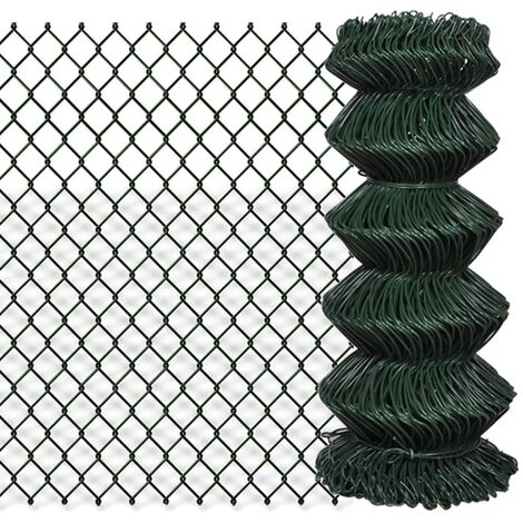 Valla de tela metálica acero verde 0,8x15 m - Verde