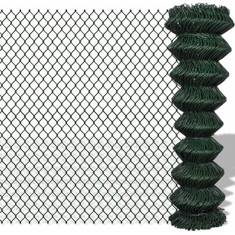 Valla de tela metálica acero verde 1,5x15 m - Verde