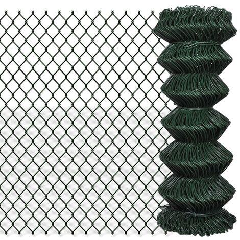 Valla de tela metálica acero verde 1x25 m - Verde