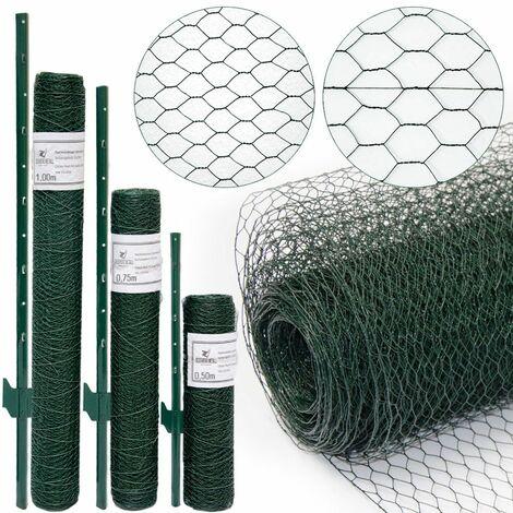 valla de Tela Metálica hexagonal + Postes | Rollo 10m | Altura tela metálica 0,75m | Malla 13x13mm | Incl 8 Postes altos 105cm | malla metálica con revestimiento de PVC verde para animales y plantas