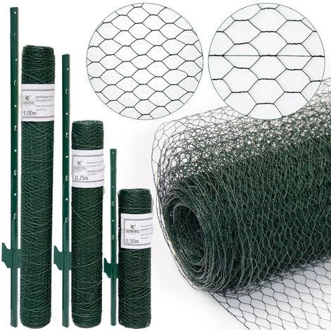 valla de Tela Metálica hexagonal + Postes | Rollo 10m | Altura tela metálica 0,75m | Malla 25x25mm | Incl 8 Postes altos 105cm | malla metálica con revestimiento de PVC verde para animales y plantas
