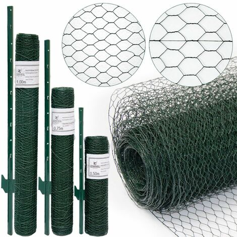 valla de Tela Metálica hexagonal + Postes   Rollo 20m   Altura tela metálica 0,75m   Malla 25x25mm   Incl 16 Postes altos 105cm   malla metálica con revestimiento de PVC verde para animales y plantas