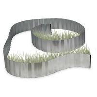 Valla decorativa, Borde delimitador de metal, Flexible, 5 m x 16 cm, Gris
