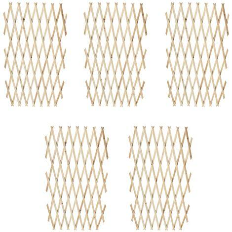 Valla enrejada 5 piezas madera maciza 180x90 cm - Beige