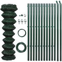 Valla tela metálica con postes acero galvanizado verde 1x25 m