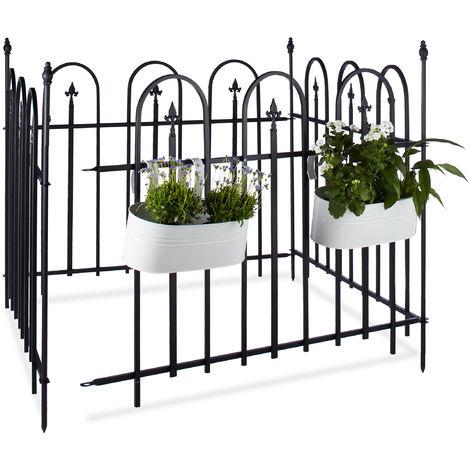 Vallado de jardín, Set de vallas, Paneles de 90 x 120 cm, 4 Uds., Negro antracita