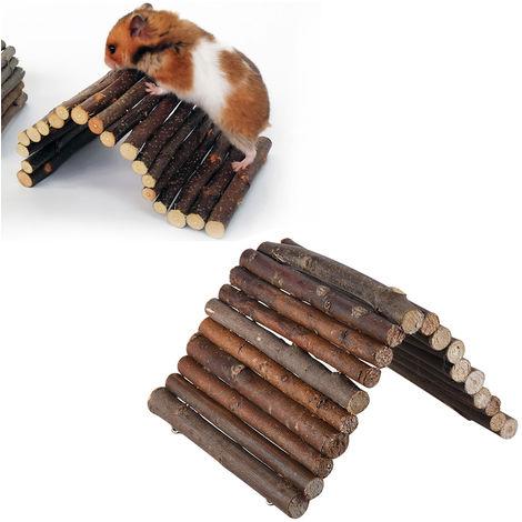 Vallas de madera escaleras de madera de juguete Hamster, Suministros pequena mascota, M