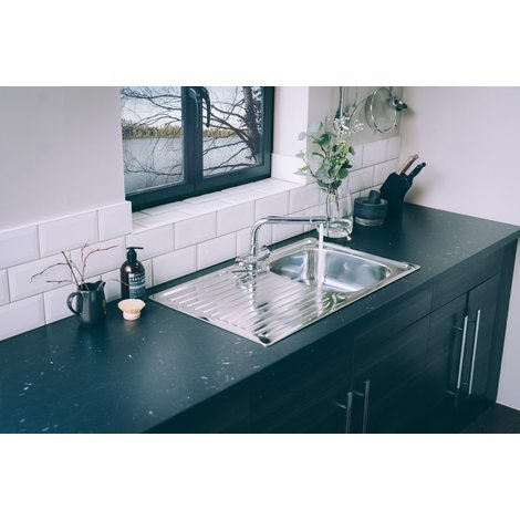 Valle Hudson 860x500mm Single Bowl Compact Kitchen Sink - Stainless Steel