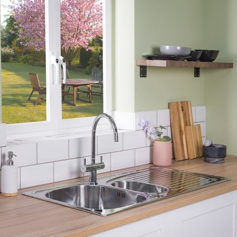Valle Taber 950x500mm 1.5 Bowl Kitchen Sink - Stainless Steel
