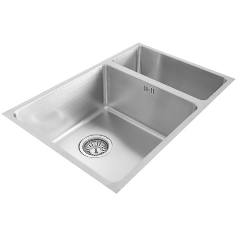 Valle Vermont 590x440mm 1.5 Bowl Undermounted Kitchen Sink - Stainless Steel