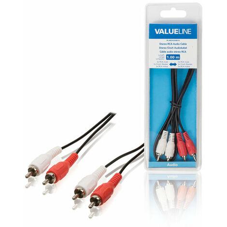 Valueline Cable de audio estéreo 2 RCA macho - macho de 10 metros, en color negro, ideal para conectar a CD - DVD
