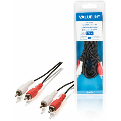 Valueline Cable de audio estéreo 2 RCA macho - macho, medida de 500 cms, color negro