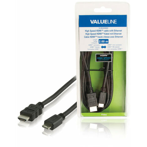 Valueline Cable HDMI macho - macho mini, 2 metros de longitud, color negro, señal digital, de PVC