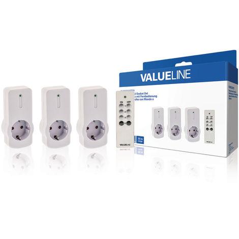 Valueline Juego de 3 uds de enchufes para interior con mando a distancia, color blanco, con protección para niños