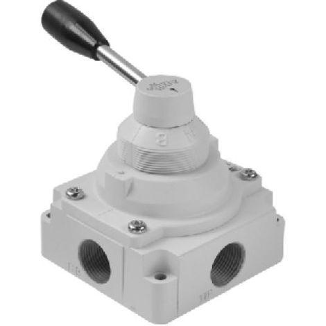 Válvula 1/4 4 vías 3 posiciones c.c. rotatoria de palanca (Talla 2)
