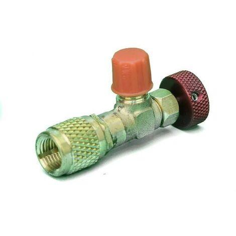 Valvula Carga Botella Gas Refrigerante 1/4 M 5/16 H Aire Acondicionado
