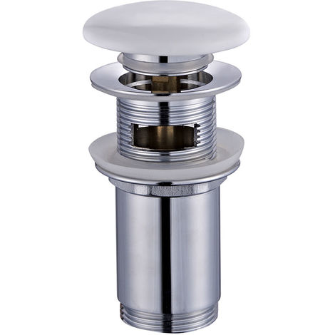 Válvula Clic Clac de porcelana blanca universal compatible con la mayoría de lavabos fabricada en latón Kibath