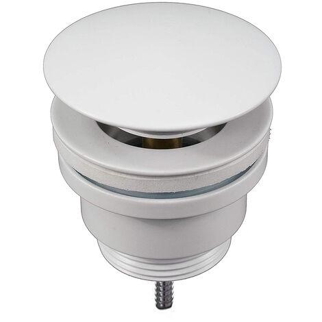 Válvula Clic Clac universal blanco mate. Desagüe Push-up de lavabo y bidet, con acabado en blanco mate. Tuerca de 1 1/4. Fabricada en latón