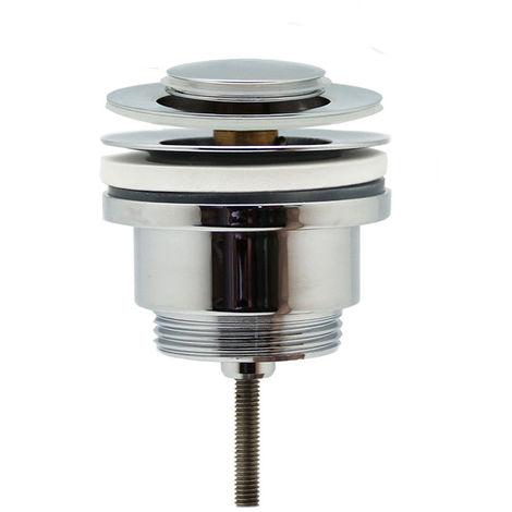 Válvula Clic Clac universal de tapón pequeño. Desagüe Push-up de lavabo y bidet, con acabado en cromo brillo. Tuerca de 1 1/4. Fabricada en latón Kibath