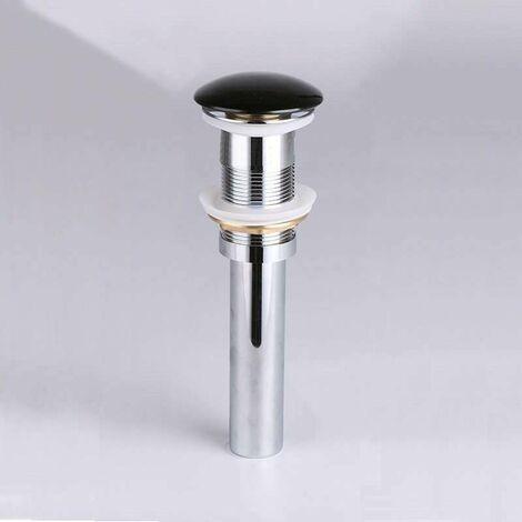 Válvula click-clack para lavabo + tapa redonda en cerámica negra