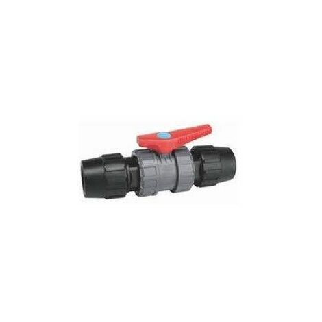 Válvula de boladepolietileno con acoples para tubería de polietileno.