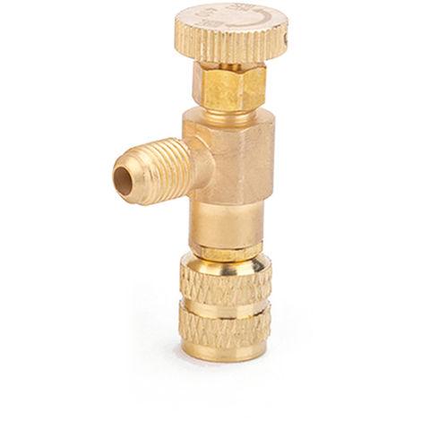 """Valvula de carga de refrigerante R410A, valvulas de control de flujo de cobre de 1/4 """"- 5/16"""""""